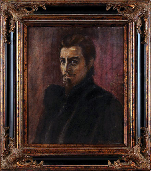 "John Barrymore. ""Beloved Rogue."" Artist: James Montgomery Flagg. Mixed-media on heavy illustration board. 20"" x 24."" Bizarre Los Angeles"