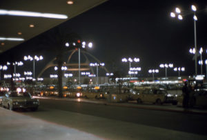 1966 row of taxi cabs los angeles international airport