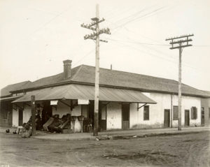 Madame Begon's store at the northwest corner of Ord and North Broadway, circa 1895. (Huntington Library)