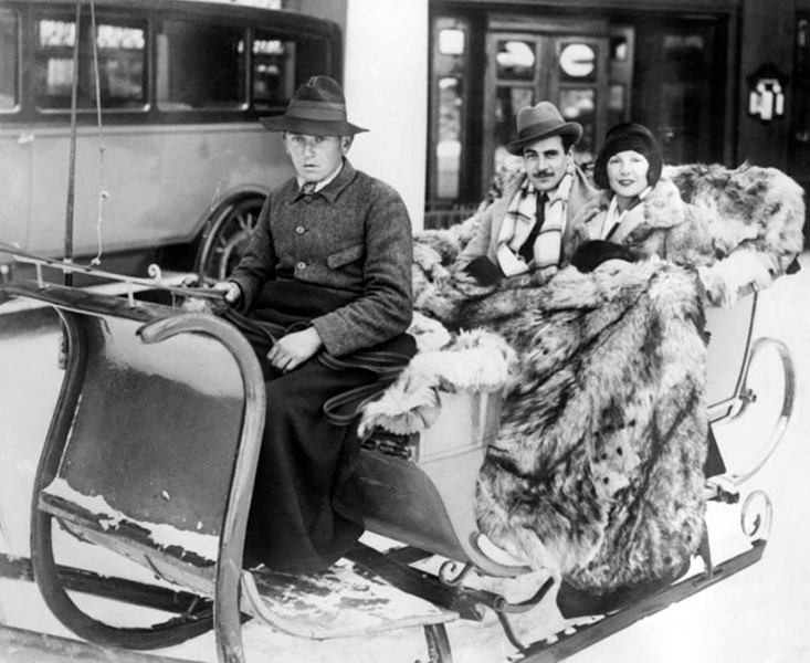 Gilbert Holand and Norma Talmadge spend Christmas in Chamonix, France., circa 1930. (Bizarre Los Angeles)