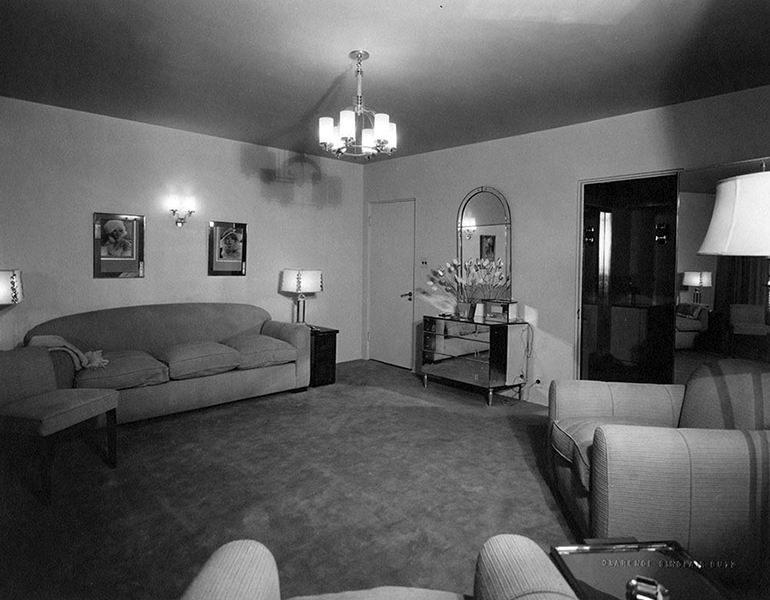 "One of the ""fourteen-room dressing quarters"" built for Marion Davies on the MGM lot. The cost of the house was in the neighborhood of $100,000. When Davies left MGM, in 1934, the building was dismantled. (Bizarre Los Angeles)"
