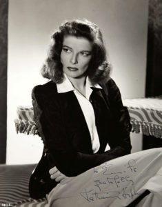 """I like to have my 'fans,' of course, but I think that giving autographs is silly. It would be quite impossible to sign my name for everybody, so I discourage the paper and pencil habit, whil appreciating their enthusiasm in waiting till I go from the theatre to my car."" -- Katharine Hepburn (Bizarre Los Angeles)"