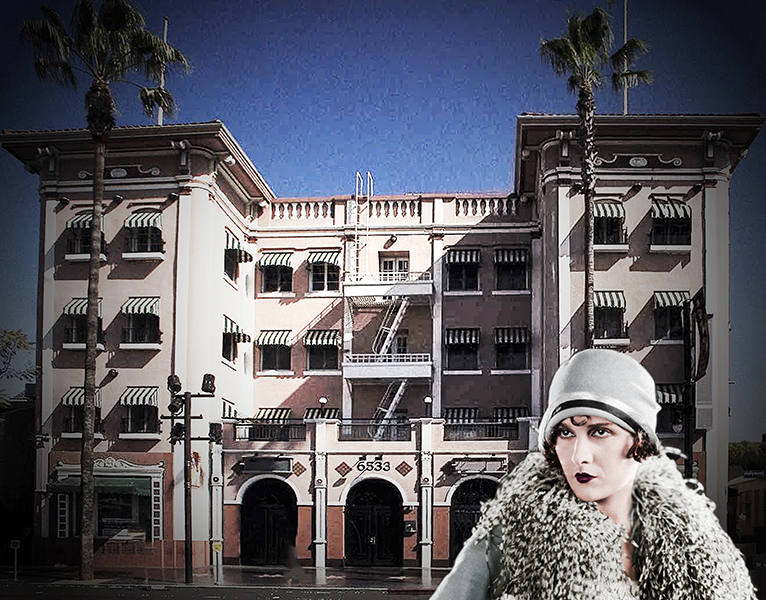 Hillview Apartments on Hollywood Blvd. Former home of Evelyn Brent. (Bizarre Los Angeles)