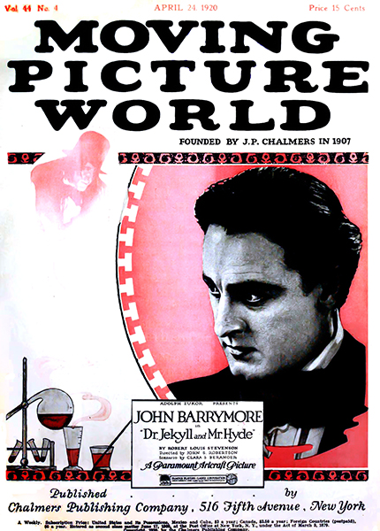 John Barrymore on the cover of Moving Picture World Magazine (1920). Bizarre Los Angeles.