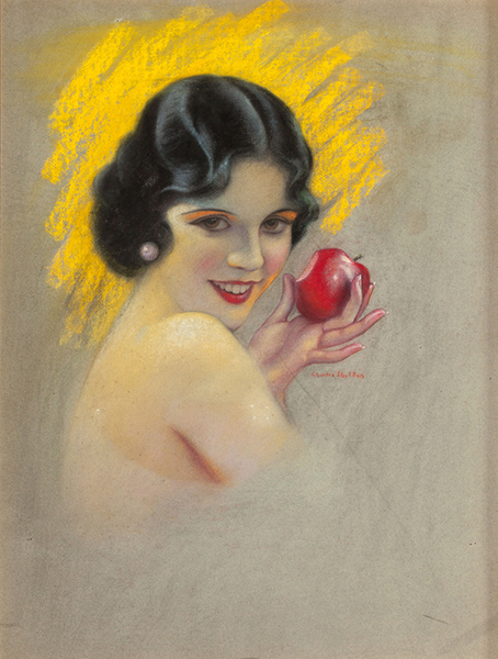 Olive Borden illustration. Artist: Charles Gates Sheldon. Year: 1927. Pastel. 34 x 28 inches. Created for the cover of Photoplay Magazine. It sold at auction for over $2,300. (Bizarre Los Angeles)