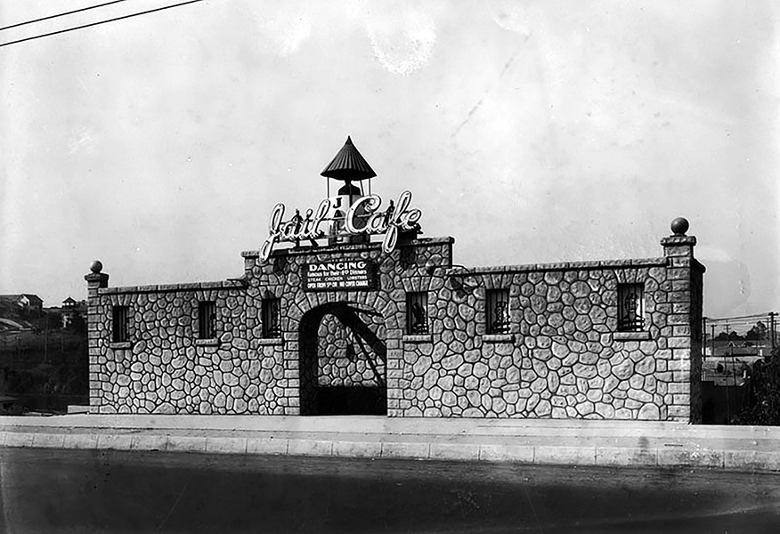 The Jail Cafe was located at 4212 Sunset Boulevard in Los Angeles, c. 1927. The site is now the El Cid Restaurant. (Bizarre Los Angeles)