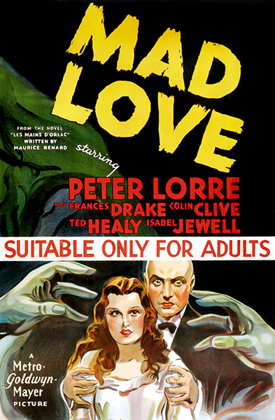 Mad Love movie poster peter lorre frances drake