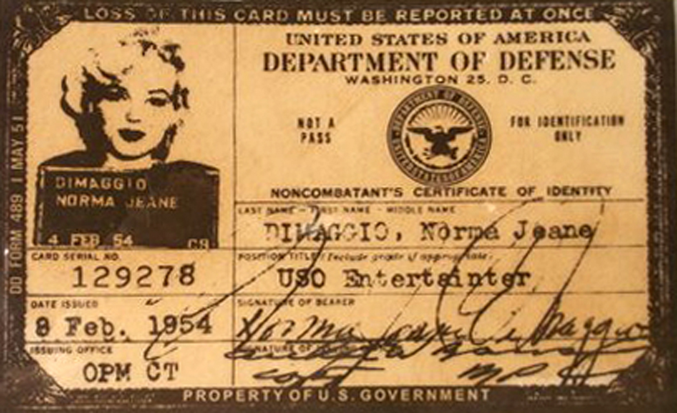 Marilyn Monroe USO ID card