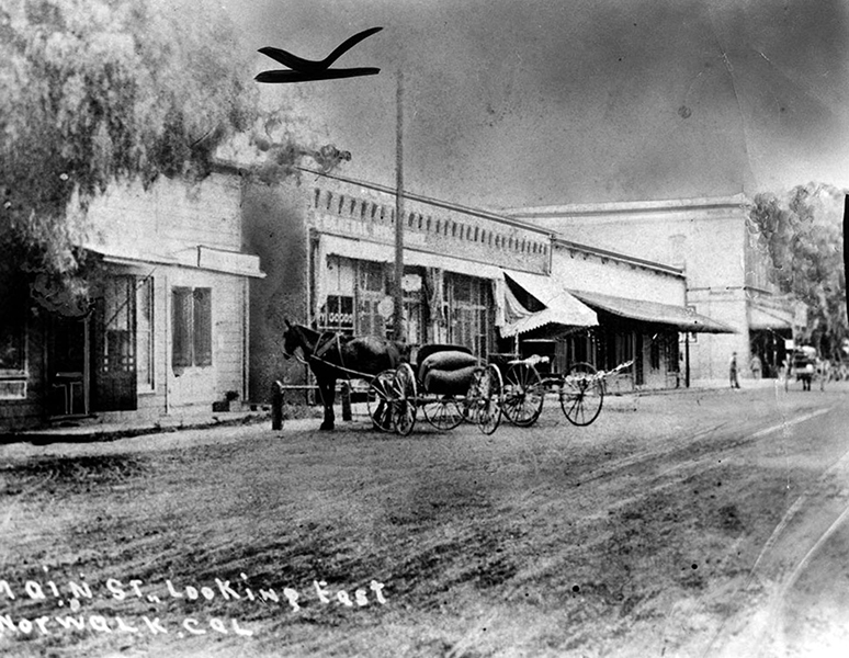 Main Street (now Front Street) in Norwalk, circa 1890. (LAPL 00040758) Bizarre Los Angeles