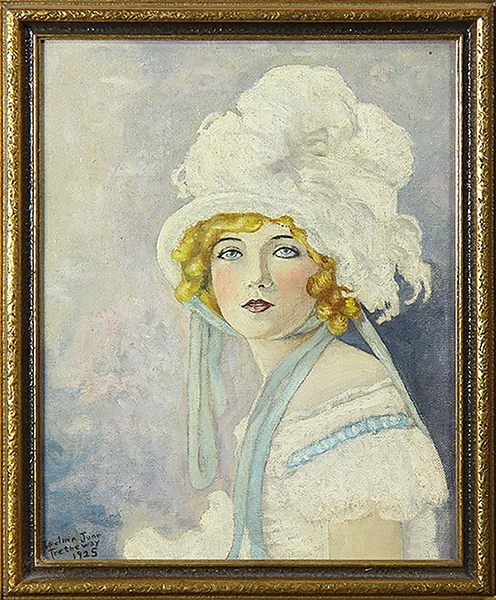Marion Davies painting; Artist: Thelma June Tretheway. Year: 1925. Oil on board. 11.5 x 9.5 inches. Bizarre Los Angeles