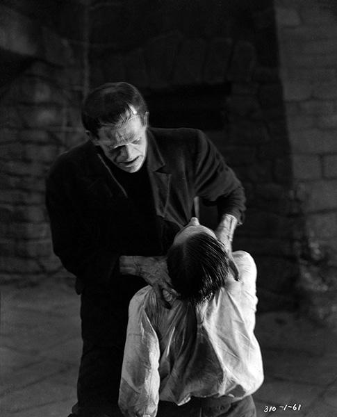 "Karloff's Frankenstein monster strangles Colin Clive in ""Frankenstein"" (1931). Bizarre Los Angeles"