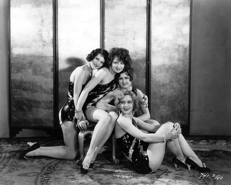 "Jean Lorraine, Clara Bow, Alice Adaire, and Adrienne Dore in ""The Wild Party"" - 1929 (Bizarre Los Angeles)"