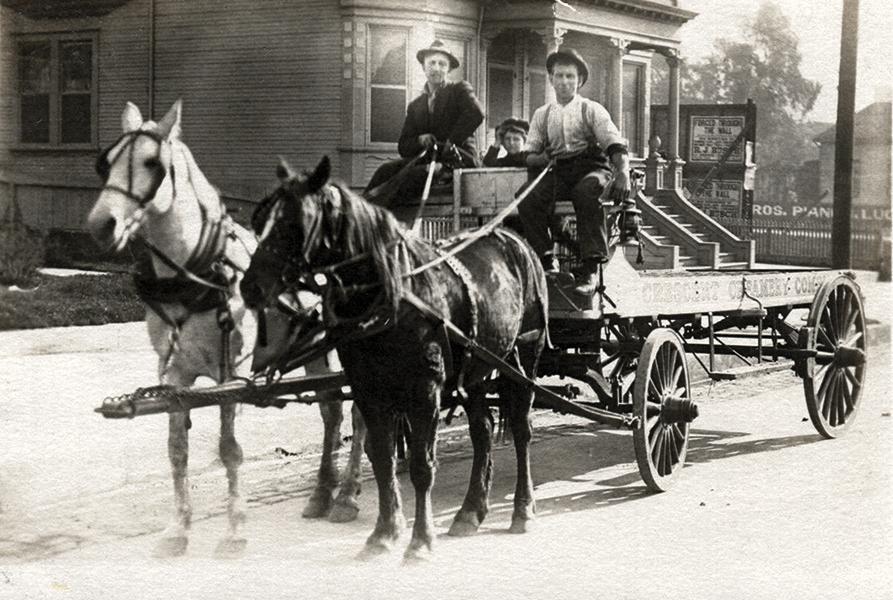 1910 LOS ANGELES CA RPPC Crescent Creamery Co HORSE DRAWN DELIVERY WAGON