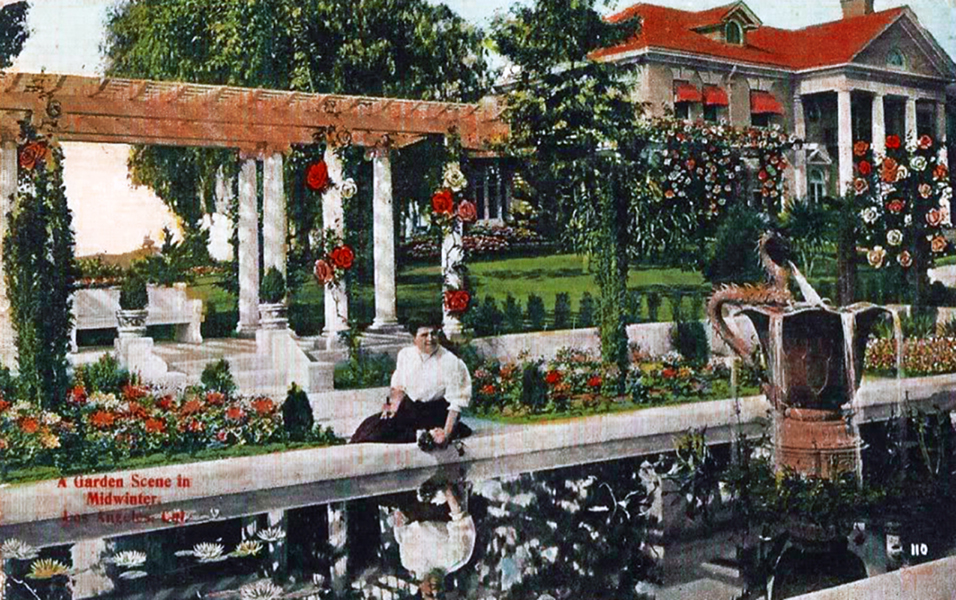 1913 Los Angeles CA Postcard A Garden Scene in Midwinter