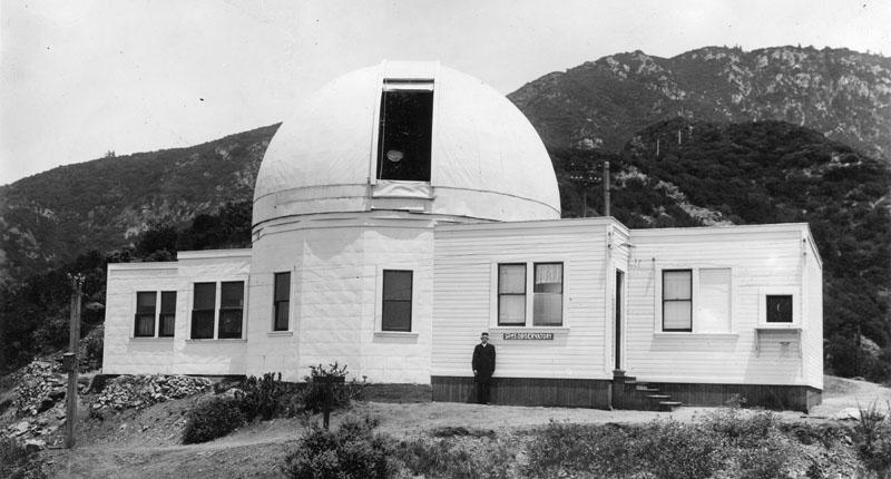 Prof. Larkin poses outside of the Mt. Lowe Observatory.