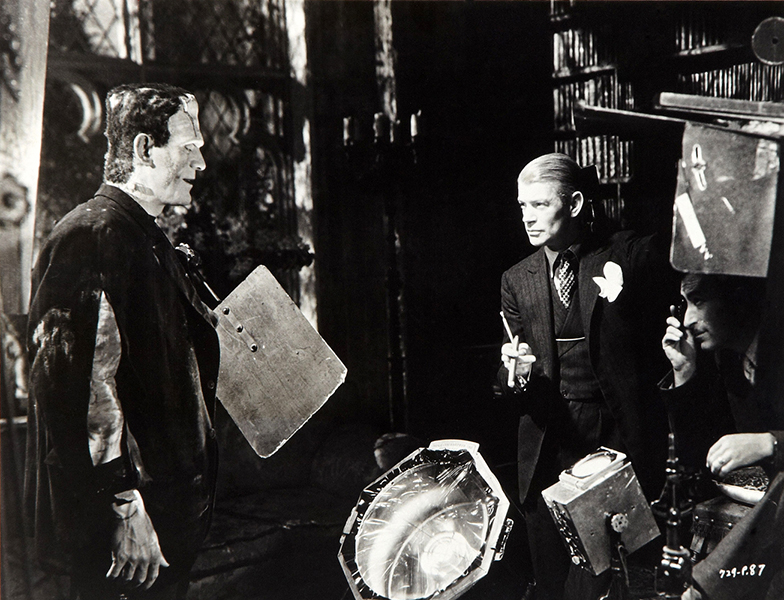 Boris Karloff and James Whale on the set of The Bride of Frankenstein (1935). Bizarre Los Angeles.