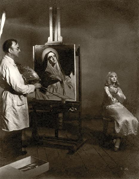 Marian Marsh painting sitting