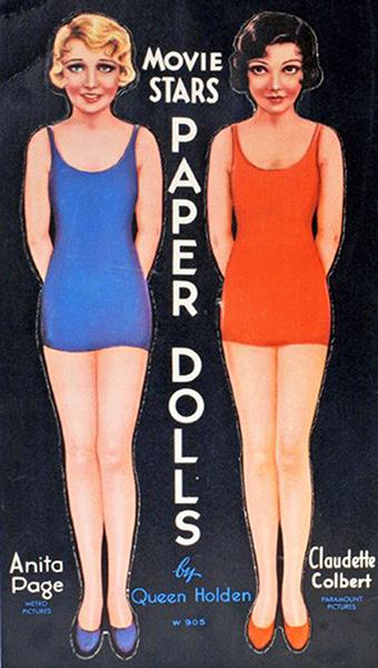 Anita Page Claudette Colvert paper dolls