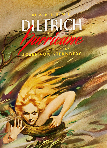Alberto Vargas' artwork for the announced Paramount film, Hurricane, directed by Josef von Sternberg. The movie was never made. Bizarre Los Angeles