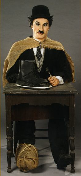 One of the most unconvincing Chaplin likenesses ever. Retired from the Hollywood Wax Museum. Bizarre Los Angeles