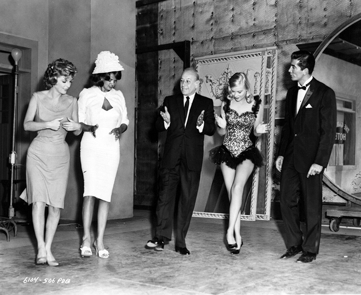 """Julie London, George Raft, and Ray Danton rehearsing for """"The George Raft Story"""" (1961). Bizarre Los Angeles"""