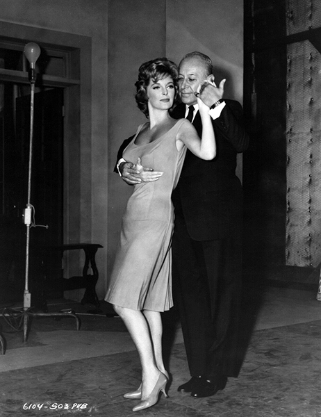 "George Raft dances with Julie London on the set of ""The George Raft Story"" (1961). Bizarre Los Angeles"