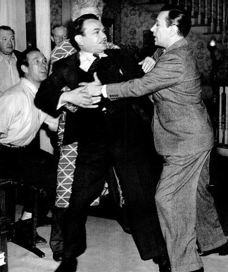 Edward G. Robinson gets shoved around by George Raft on the set of Manpower (Bizarre Los Angeles)