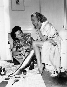 """""""The paint would go on as soon as I arrived, which was 6:30 a.m. and would stay on until I left around 6:00 p.m. It always took one hour to apply, and twice as long to remove."""" -- Marlene Dietrich, discussing her gold legs in Kismet (1944). Bizarre Los Angeles"""