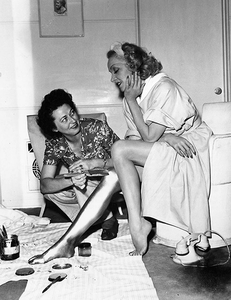 """The paint would go on as soon as I arrived, which was 6:30 a.m. and would stay on until I left around 6:00 p.m. It always took one hour to apply, and twice as long to remove."" -- Marlene Dietrich, discussing her gold legs in Kismet (1944). Bizarre Los Angeles"