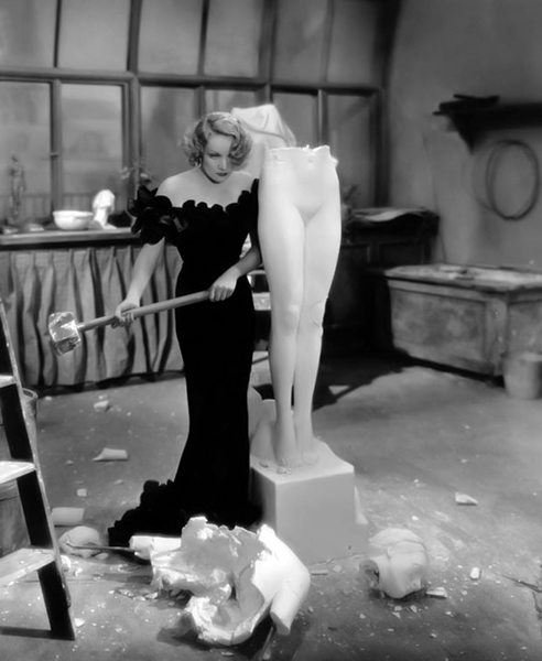 "Marlene Dietrich smashes a sculpted likeness of herself with a sledgehammer in ""The Song of Songs"" (1933). Bizarre Los Angeles"