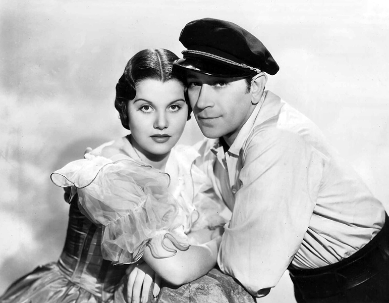 """Olympe Bradna and George Raft in """"Souls at Sea."""" Bizarre Los Angeles"""
