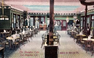The interior of the Shanghai Cafe in Los Angeles, C. 1905. Bizarre Los Angeles