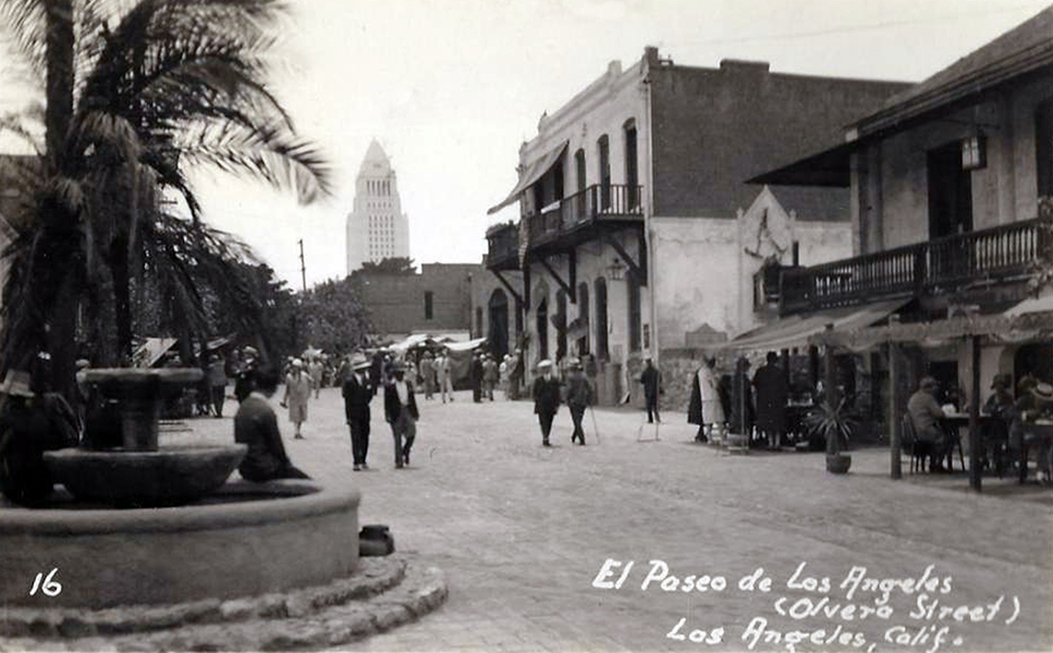 1934 Los Angeles CA Olvera Street Scene City Hall