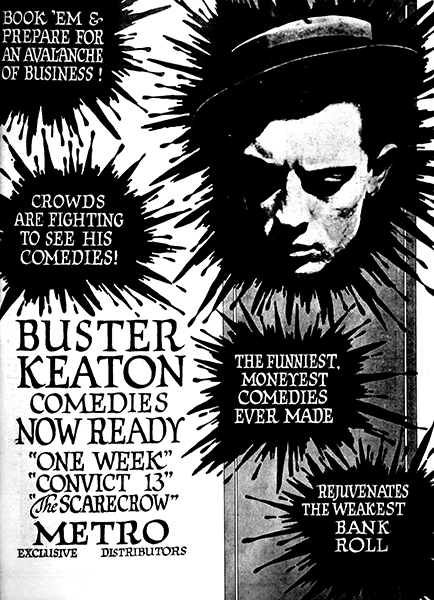 A Buster Keaton ad from 1920. (Bizarre Los Angeles)