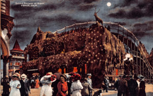 The Scenic Railway, a roller coaster that debuted in 1910. It was built by the L.A. Thompson Company in Venice, and the attraction was located next to the Abbot Kinney Pier. Postcard is no later than 1913.