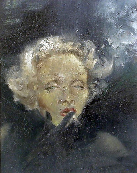 "Marlene Dietrich painting. Year: 1975. Artist: Pola Welebit. Oil on canvas, 10"" x 8."" Bizarre Los Angeles"