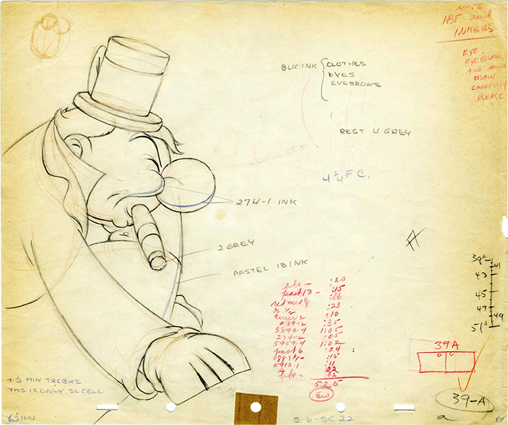 "Animation cel drawing of W.C. Fields from ""Mother Goose Goes Hollywood"" (1938) Disney Studios. (Bizarre Los Angeles)"