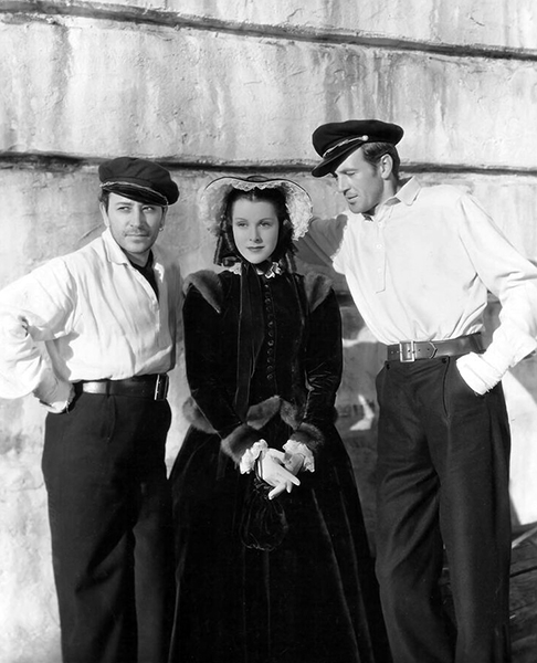 "George Raft, Frances Dee and Gary Cooper on the set of ""Souls at Sea"" (1937). Bizarre Los Angeles."