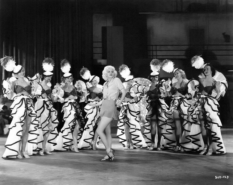 Jean Harlow and chorus girls, c. 1933. (Bizarre Los Angeles)