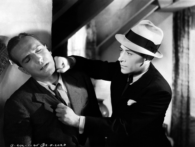 """Lloyd Nolan gets socked by George Raft in """"She Couldn't Take It"""" (1935). Bizarre Los Angeles"""