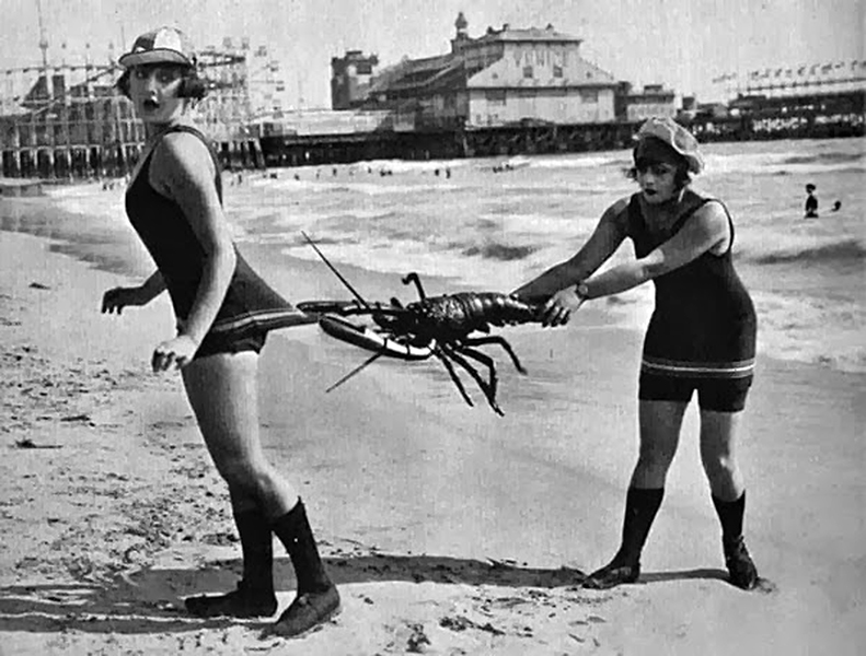 """According to Mack Sennett expert Brent E. Walker, this 1918 postcard taken at Venice, CA, features Vera Steadman (left) and possibly Gonda Durand (right). The film in question is """"Who's Little Wife Are You?"""" Source: Mack Sennett's Fun Factory: A History and Filmography of His Studio and His Keystone and Mack Sennett Comedies, with Biographies of Players and Personnel (2013). Bizarre Los Angeles."""