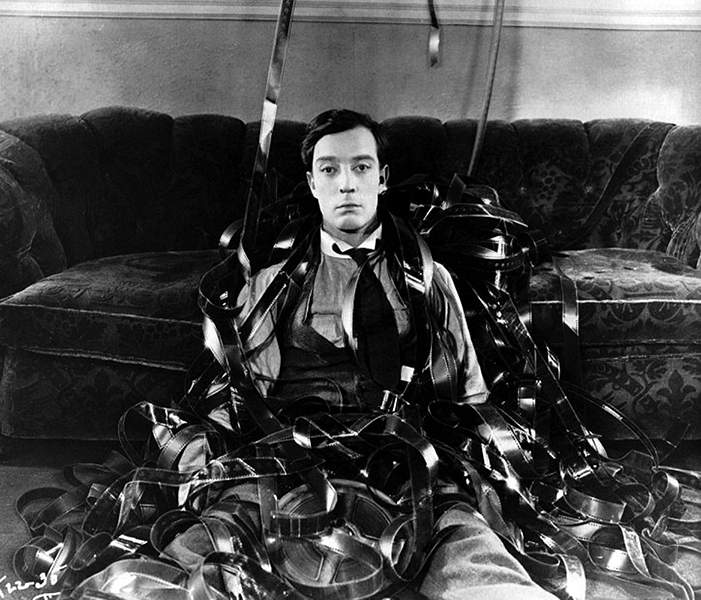Buster Keaton in a scene from Sherlock Bill Jr.