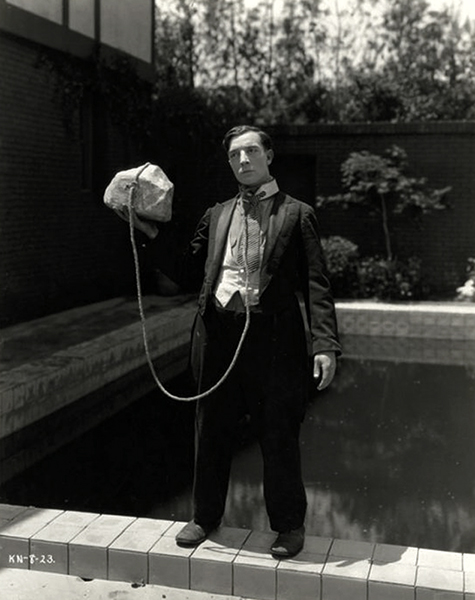 Buster Keaton humorously contemplating suicide from one of his film shorts.