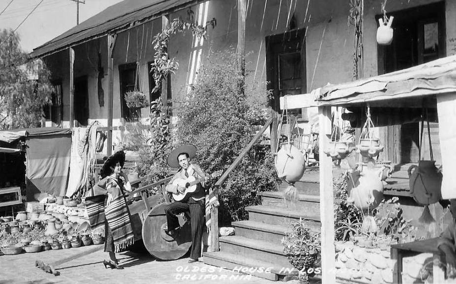 Photo taken in front of the Avila Adobe, circa 1940s. (Bizarre Los Angeles)