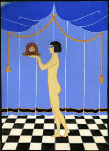 Here is a colored sketch Natacha Rambova drew for Alla Nazimova's 1923 film, Salome. (Bizarre Los Angeles)