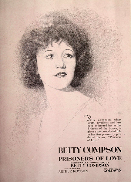 """Betty Compson in """"Prisoner of Love"""" (1921). Bizarre Los Angeles"""