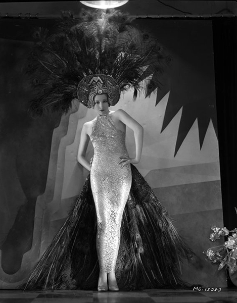 Edwina Booth in a fabulous art deco peacock costume. (Bizarre Los Angeles)