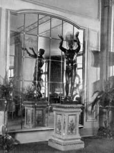 """""""Adorant,"""" a bronze statue, was located at one end of the Ambassador lobby. Photo from 1930. Bizarre Los Angeles"""