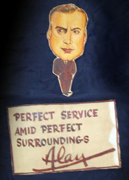 An Alan Mowbray caricature from the Ambassador Hotel's Field & Turf Club. Bizarre Los Angeles