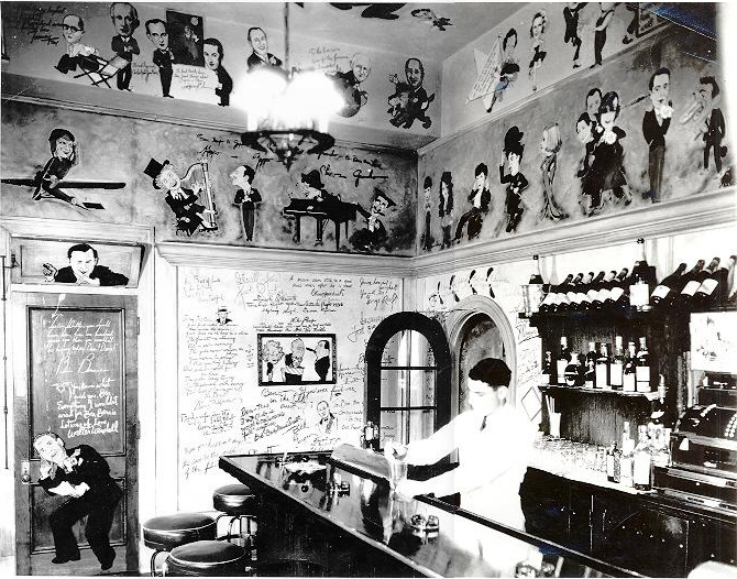 Inside the Ambassador Hotel's Field & Turf Club, a private room adjacent to the Cocoanut Grove. Photo is circa early to mid 1930s. (Bizarre Los Angeles)